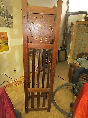Vintage Mission Arts & Crafts Oak Grandfather Clock