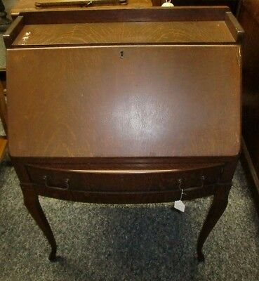 Fantastic Antique Oak Ladies Drop Bow Front Desk Secretary Dancing Legs