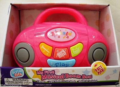 My First Musical Boom Box Player,w/ Lights,sounds,tunes,color: Pink,kids 3+,new