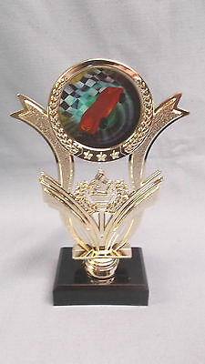 red pinewood derby trophy full color insert cub scout checkered flag black base