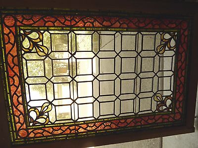 Antique Stained Leaded Glass Window