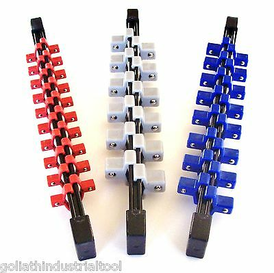 3Pc Goliath Industrial Abs Double Sided Socket Rail Holder Organizer 1/4 3/8 1/2