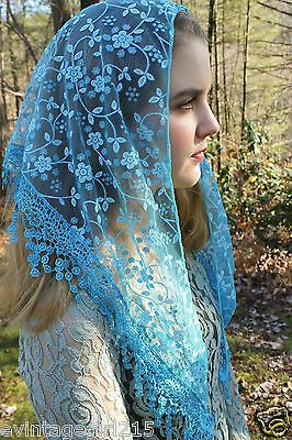 NEW Classic Mantilla Turquoise  Blue Embroidered Chapel Veil Triangle Free Ship