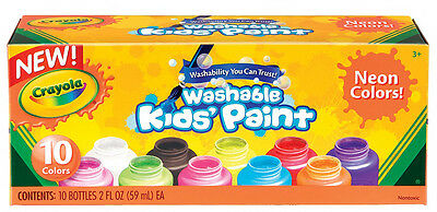 Crayola Washable Neon Paint Set 10 Colour Bottles Non Toxic - Made in USA