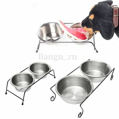 Double Gamelle Inox + Support Pour Chien Chat Animal Bol Ecuelle Mangeoire S/L
