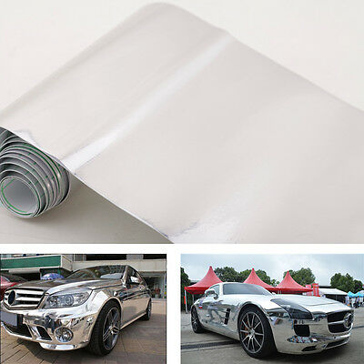 6″ * 60″ Chrome Mirror Silver Vinyl Wrap Sticker Decal Film Sheet Self-adhesive