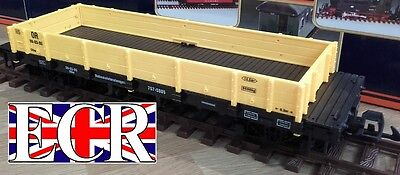 NEW G SCALE 45mm GAUGE FLAT BED TRUCK YELLOW FREIGHT GARDEN ROLLING STOCK TRAIN