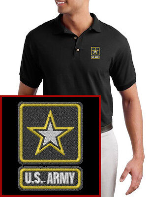 US Army EMBROIDERED Black Polo Shirt New