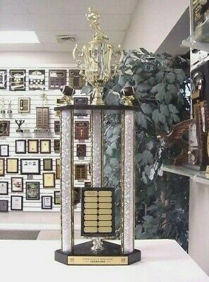 FANTASY FOOTBALL AWESOME NEW LARGE THREE POST TROPHY 14 YEAR PERPETUAL 35 inches