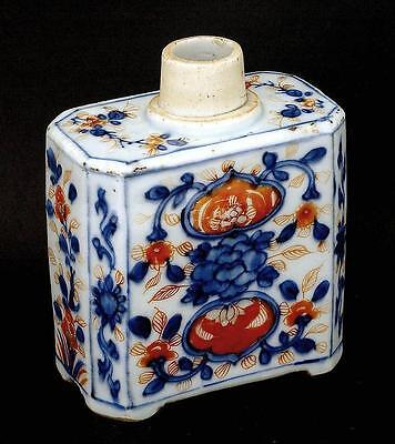 Late 18th Century Chinese Export Famille Rose Imari Style Porcelain Tea Caddy