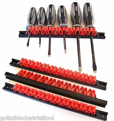 4 Goliath Industrial Abs Screwdriver Tool Rail Rack Holder Organizers Wall Mount