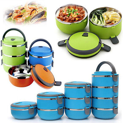 1-4Layer Stainless Steel Portable Thermal Insulated Lunch Box Food Container Hot