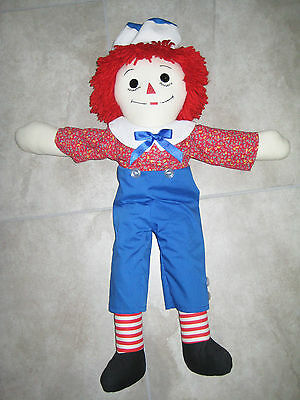 "Vintage (NOT GEORGENE) Raggedy ANDY rag Doll 26"" Stuffed Plush Toy Floral Shirt"
