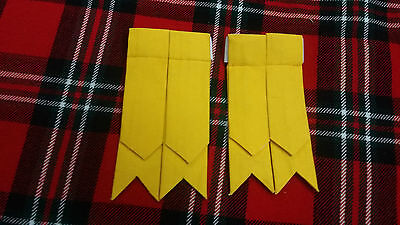 TC New Men's Kilt Sock Flashes Yellow Tartan/Scottish Kilt Hose Flashes Yellow