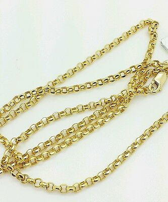 "14k Yellow Gold Round Rolo Link Necklace Pendant Chain 24"" 2.0mm"