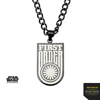 NEW Licensed Mens Star Wars Imperial First Order Black Stainless Steel Necklace
