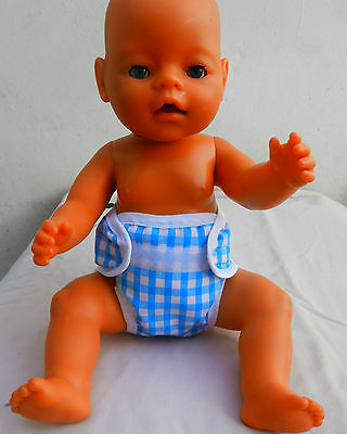 "Doll's reusable waterproof nappy nappies fit baby born or any 14 -18""  doll"