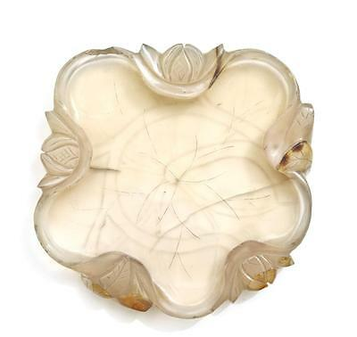 19C Chinese Agate Carved Carving Lotus Pad Scholar Brush Washer Bowl