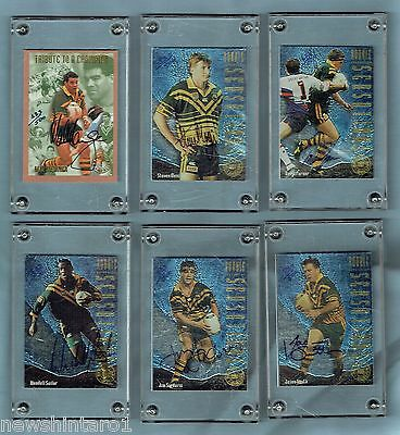 #cc. 1994 Kangaroo Heroes Rugby League Signed Cards & Set In Folder