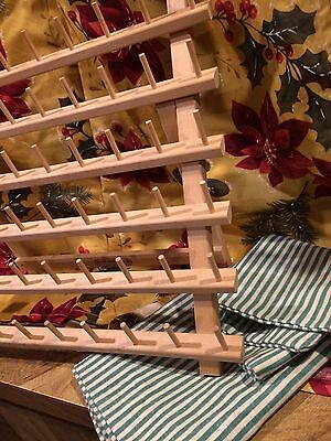 June Tailor Table Top Wall Mount Thread Spool Rack With Fabric Cover Striped