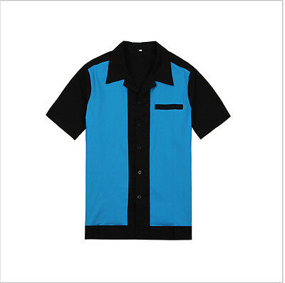 Mens Rockabilly Vintage Bowling Shirts 50s 60s Style Punk Metal Party Clubwear