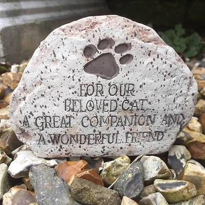 Pet Memorial Stone Plaque Animal BELOVED CAT Grave Companion Friend Paw Print