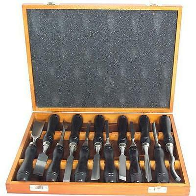 Wood Carving Professional  Chisel Set 12Pc Wooden Case Carpenters Tool 12 Piece