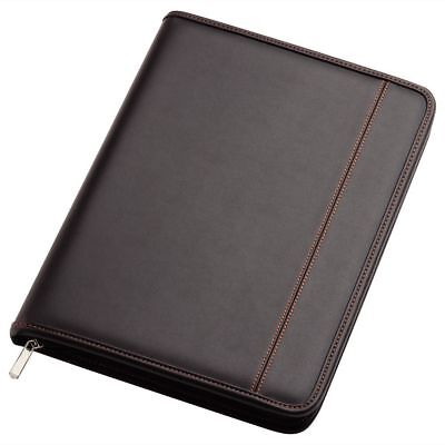 1 x A4 New Black Zippered Compendium Leather Look Express Courier Included