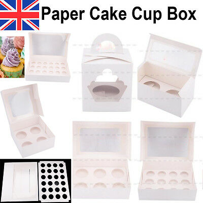 Mini Cupcake Cake Cup Boxes Holds Cup Cakes Window Heavy Duty Party Gift White