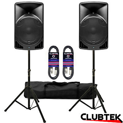 """2 x Alto TX15 15"""" 1200W Active PA DJ Powered Pair Speakers + Stands Bag Leads UK"""