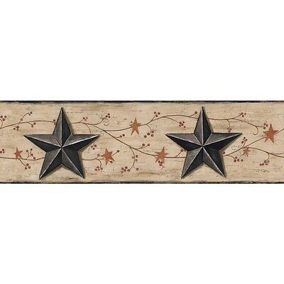 BG1632BD Red Berries Country Black Tin Stars Wallpaper Border Black Trim