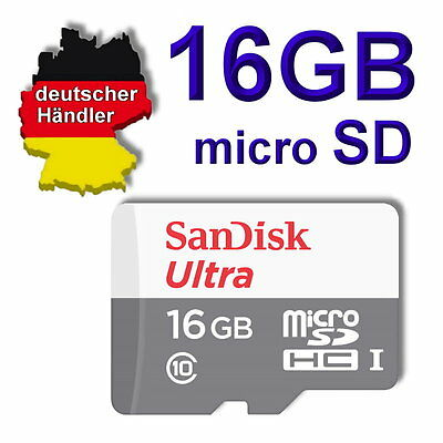 16 GB SanDisk ultra micro SD Speicherkarte Class 10 SDHC 80 mbit/s + SD Adapter