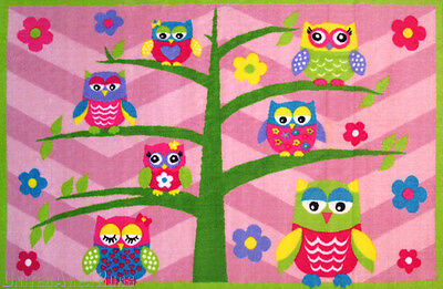 "3x5 Area Rug Owl & Tree Whoo Whoo Chevron Pink Girly Room 3'3""x4'10"" New"