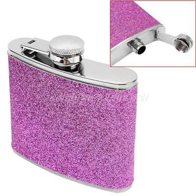 5oz Stainless Steel PU Alcohol Whisky Liquor Drink Hip Flask Dining Gift Purple