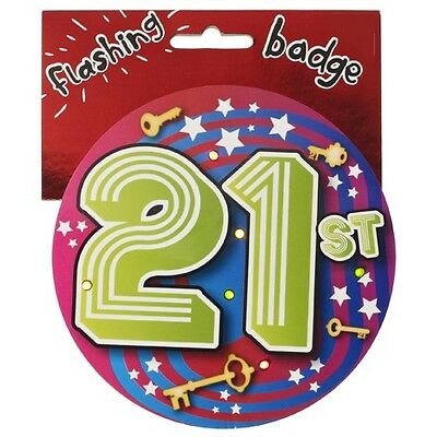 21st Birthday Jumbo Flashing Party Badge Age 21 Big Badges Birthdays