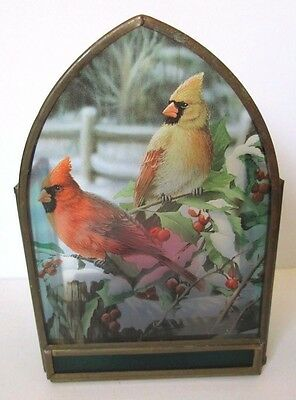 Vintage Stained Glass Candle Holder Mr & Mrs Cardinal