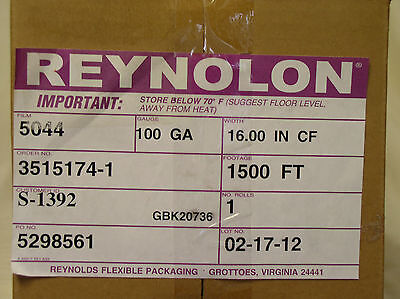 "Shrink Film Reynolon 5044 16"" X 1500' 100 Gauge 1500 Ft"