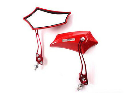 1 Pair Red Flexible Aluminum Rod Rear View Mirror& Mount For Motorbike Bicycle