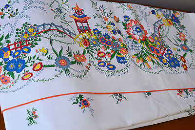 """NEW Italian Tablecloth +12 Napkins by Basseti 55.5""""x 96"""" Cotton Floral Oriental"""