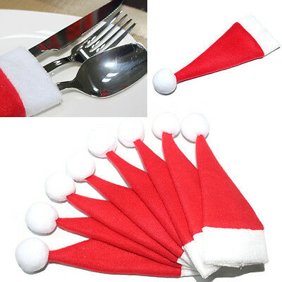10PCS/Set Christmas Hat Silverware Holder Xmas Mini Red Santa Claus Cutlery Bag