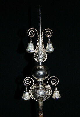 Antique wire wrapped mercury glass tree topper - Germany  (# 5316)