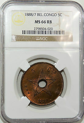 1888/7 Belgian Congo 5 Centimes 5c. MS 66 RB by NGC 2798504-020