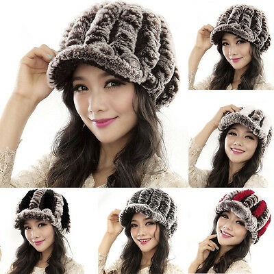 Winter Women Genuine  Fashion Rabbit Fur Hats Handmade Warm Caps Female Headgear