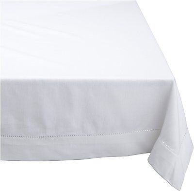 HEMSTITCH Table Cloth 100% Cotton WHITE 5 Sizes RECTANGLE and ROUND