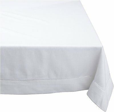 HEMSTITCH Table Cloth 100% Cotton WHITE 8 Sizes RECTANGLE ROUND and SQUARE