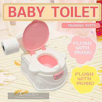 Kids Baby Toddler Toilet Training Trainer Potty Music Player Flush 2in1 Pink 1P