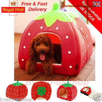 Soft Strawberry Pet Igloo Dog Cat Bed House Kennel Doggy Warm Cushion Basket BY