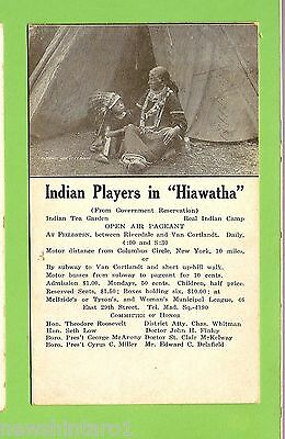#d. Theatre Advertisement   Postcard, Indian Players In Hiawatha