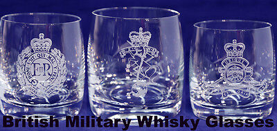 British Military Whisky Glass, Scottish, PARA, Marines, Rifles, RAF & NAVY