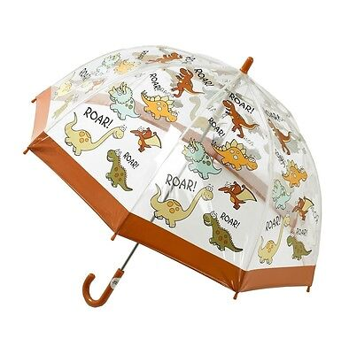 Bugzz Kids Dino Brolly Dome Childrens / Childs Clear PVC Umbrella Fun Umbrellas